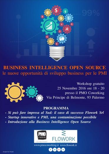 """Flowork al PMO Coworking per il workshop """"Business Intelligence Open Source: le nuove opportunità di sviluppo business per le PMI"""""""